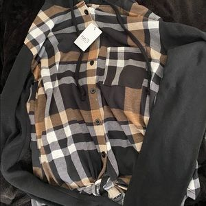 Black,White,And Brown plaid shirt with hoodie